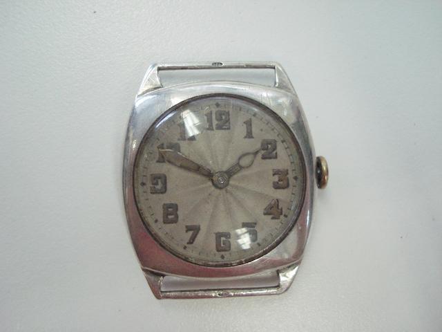 Rolex. A silver cased wristwatch  Glasgow Import mark for 1926