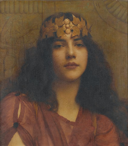 John William Godward, RBA (British, 1861-1922)The Persian princess 45.5 x 40.5 cm. (18 x 21 in.)