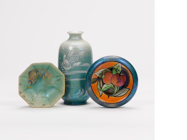 Walter Slater for Shelley Pottery Two Small Lustre Wares, circa 1919-21