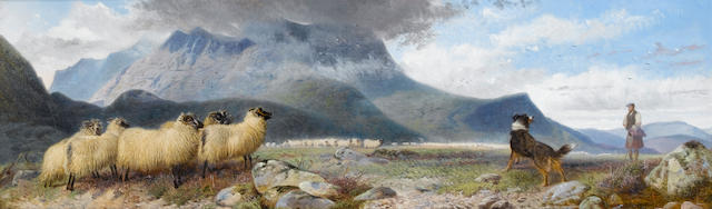 Richard Ansdell, RA (British, 1815-1885)Sheep and shepherd in a highland landscape 26 x 81 cm. (10 1