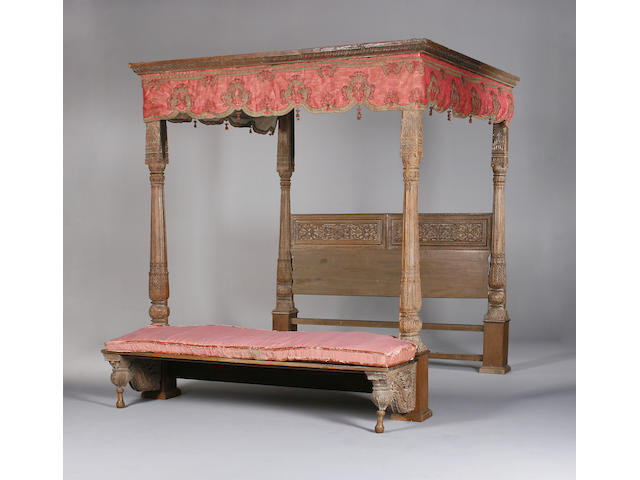 A 19th century and later Indian teak tester bed