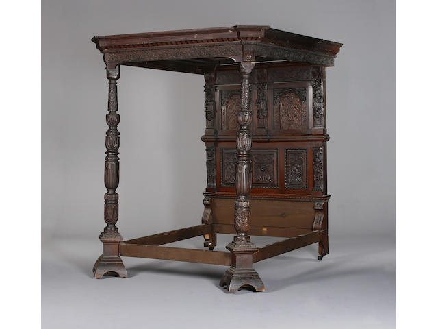 A 17th century and later oak tester bed