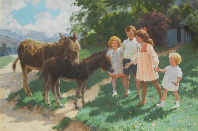 Percy Tarrant (British, active 1881-1930) Best of friends 61 x 91.5 cm. (24 x 36 in.)