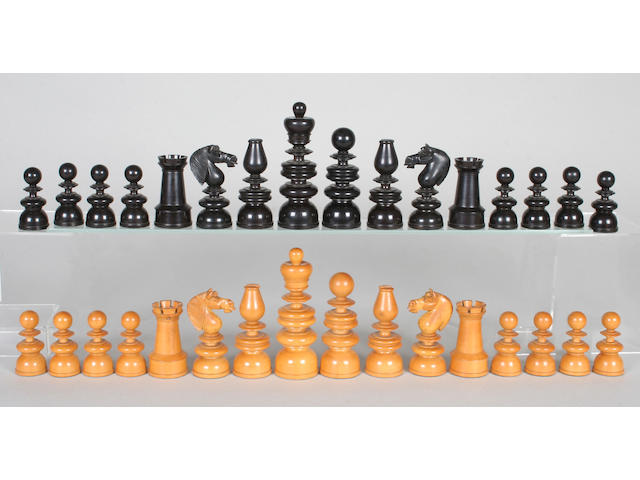 A good 19th century well-patinated, weighted Jaques 'Old English' pattern boxwood and ebony chess set