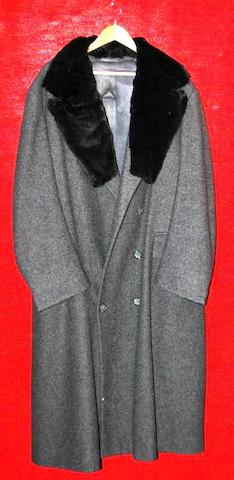 Steven Berkoff from an unknown production, 1998 A full length grey wool double breasted overcoat,