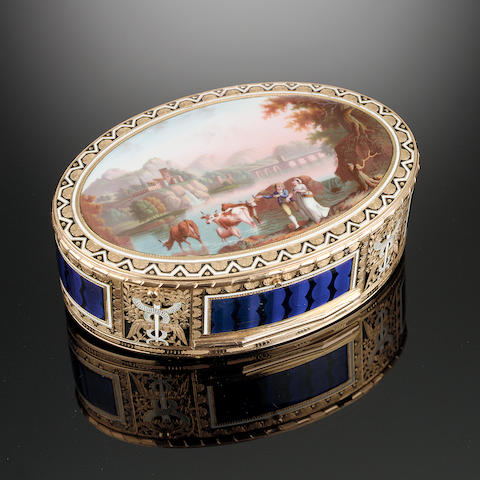 A fine late 18th/ early 19th century gold and enamelled musical snuff box, movement attributed to John Rich, the case with maker's mark incuse G pellet G, probably Guidon, Rémond and Gide, Geneva, circa 1792-1801,