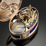 A fine musical snuff box, movement attributed to John Rich, enamel to Jean-Louis Richter