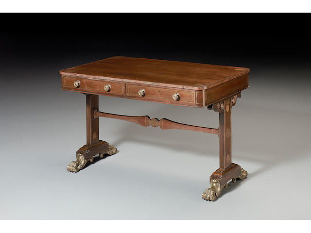 A Regency rosewood and brass inlaid Library Tablein the manner of Gillows