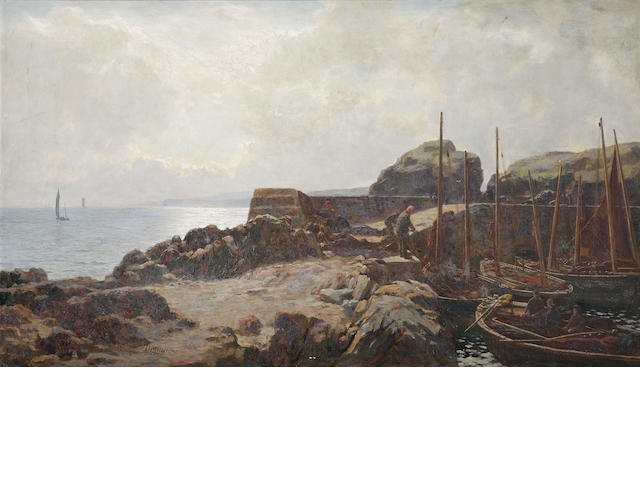 D Cameron fisherman in a harbour