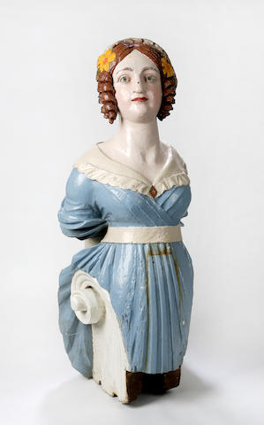 A mid 19th century carved ships figurehead,