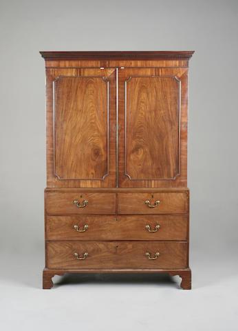 A George III mahogany linen press