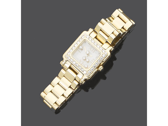 A lady's 18 carat gold Happy Sport bracelet watch, by Chopard