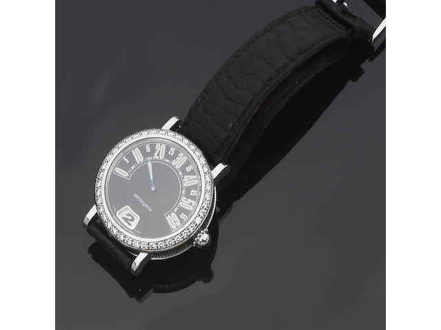 A diamond-set Retro strap watch, by Gerald Genta