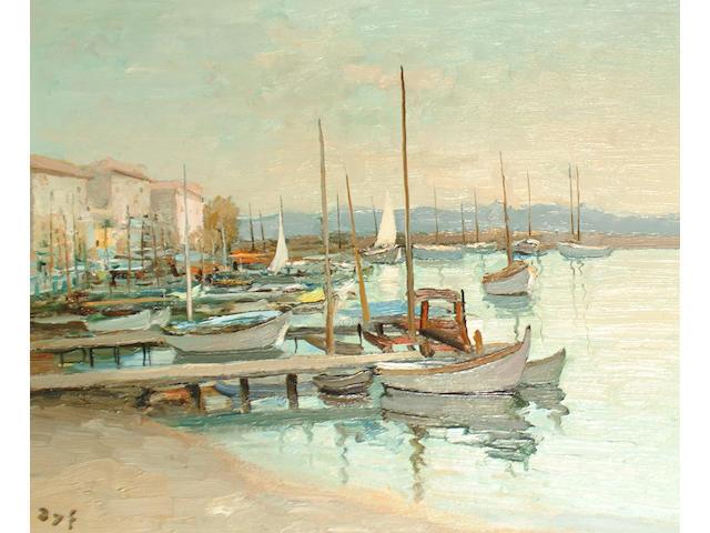 Marcel Dyf (French, 1899-1985) Maisons sur le port de Golfe Juan