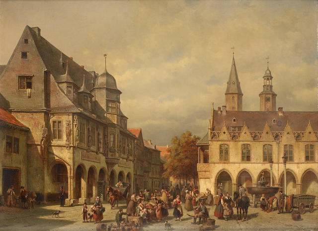 Jacques Carabain (Belgian, 1834-1933) A market day in Germany 62.5 x 84 cm. (24 1/2 x 33 in.)