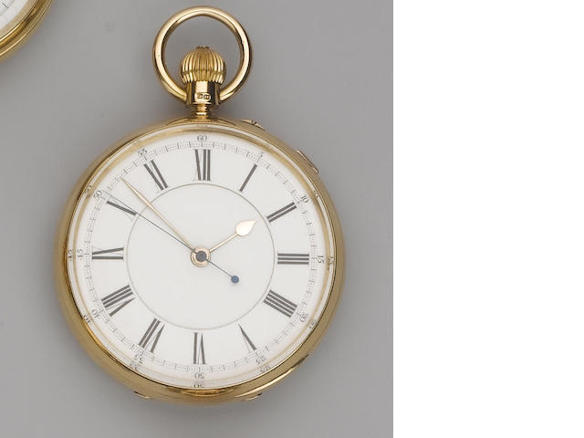 W.Melling. An 18ct gold open face chronograph pocket watch  London Hallmark for 1885