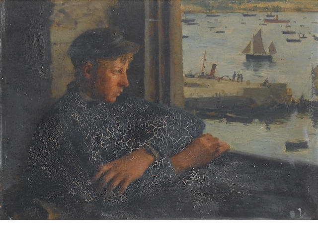 Henry Scott Tuke, RA, RWS (British, 1858-1929) The Look out 23.5 x 33cm. (9 1/4 x 13in.)
