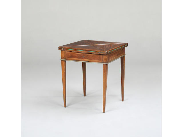 A George III mahogany and crossbanding folding card table,