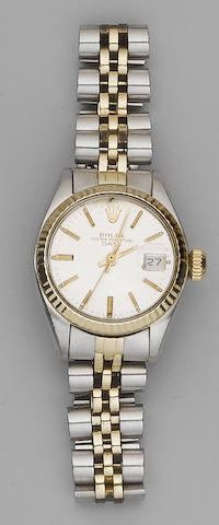 Rolex. A lady's stainless steel and gold calendar bracelet watch Oyster Date, 1978