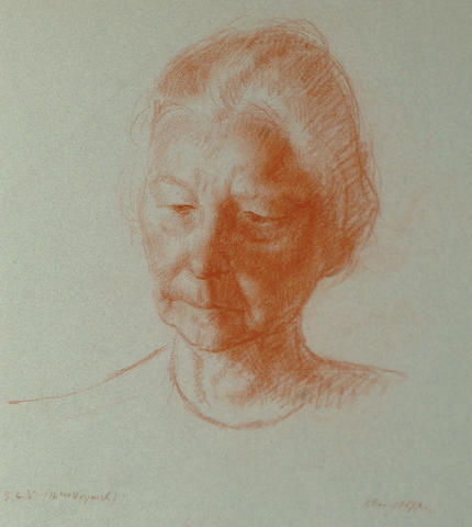 Clara Klinghoffer (British, 1900-1972) Head of an elderly woman together with three other unframed sketches by the same hand (4)