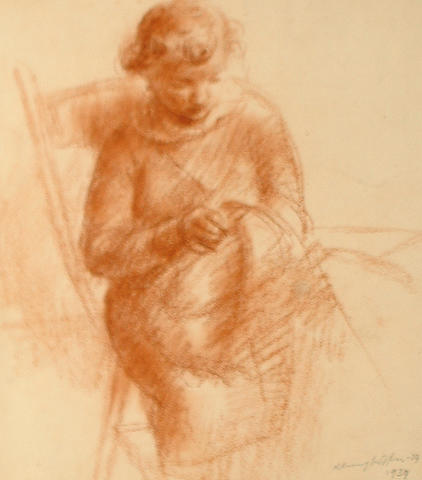 Clara Klinghoffer (British, 1900-1972) Little seamstress togther with three other unframed sketches by the same hand (4)