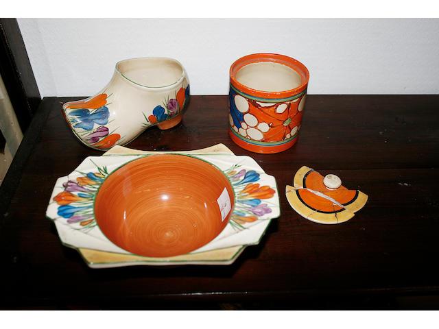 A Clarice Cliff Crocus pattern vase
