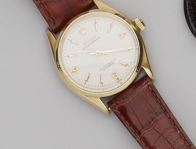 Rolex. A 9ct gold centre seconds automatic wristwatchGlasgow Import Mark for 1957