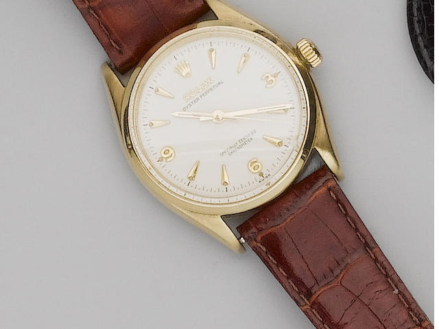 Rolex. A 9ct gold centre seconds automatic wristwatch Glasgow Import Mark for 1957