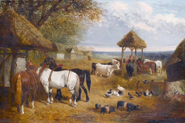 John Frederick Herring, Jnr. (British, 1815-1907) A farmyard scene with horses, cattle and pigs