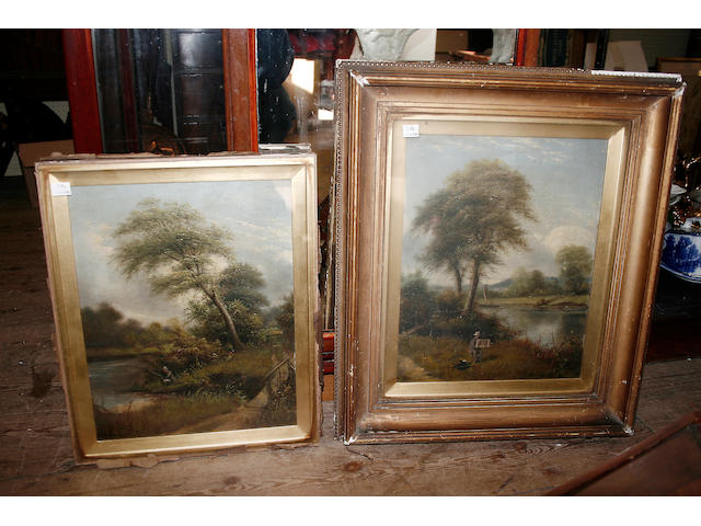 F Warsop, a pair of oil on canvas studies one depicting an artist beside a river, the other with an angler, signed and dated 1881