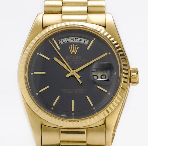 Rolex. An 18ct gold automatic calendar bracelet watch  Day-Date, Ref: 1803, 1967