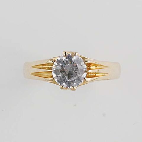A gentleman's white sapphire set dress ring, (3)