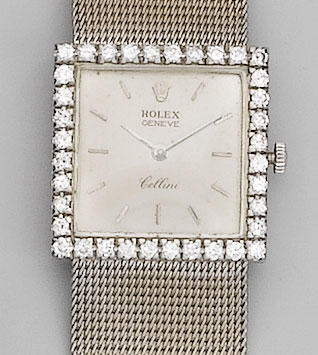 Rolex. A lady's 18ct white gold diamond set bracelet watch Cellini,
