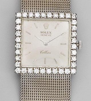 Rolex. A lady's 18ct white gold diamond set bracelet watch Cellini,