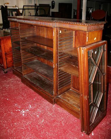 An early 20th Century mahogany breakfront bookcase