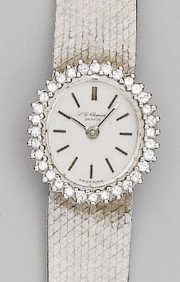 Chopard. A lady's 18ct white gold diamond set bracelet watch1970's