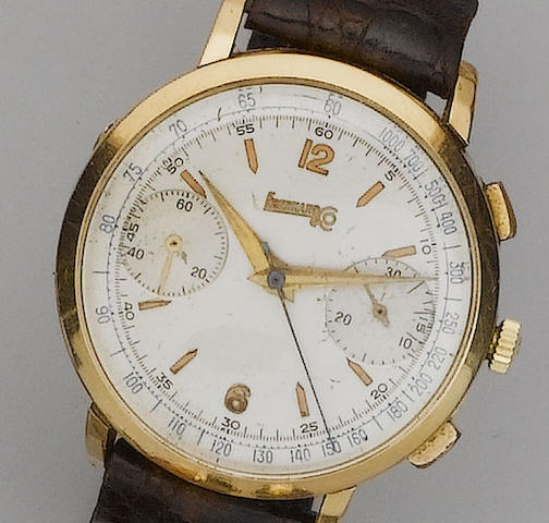 Eberhard & Co. An 18ct gold chronograph wristwatch1950's