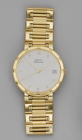 Piaget. An 18ct gold automatic calendar bracelet watch