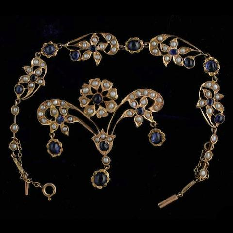 A sapphire and half pearl brooch and bracelet suite
