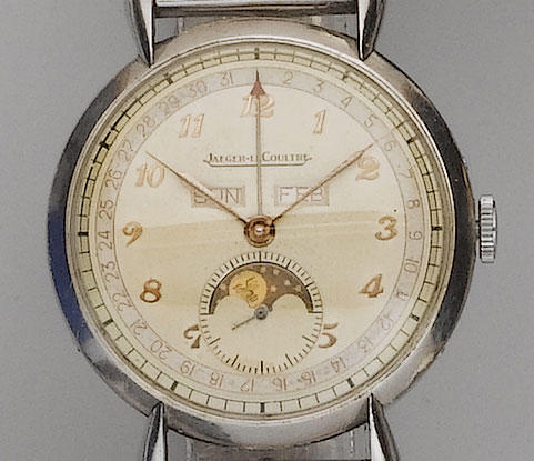 Jaeger le Coultre. A stainless steel triple calendar wristwatch 1950's