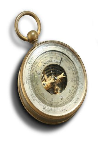 A gilt metal compensated pocket aneroid barometer