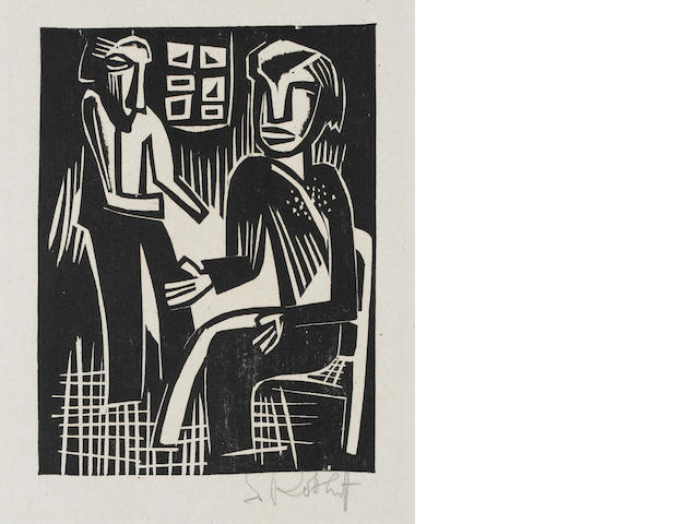 Karl Schmidt-Rottluff (German, 1884-1976) Gasprach von Tod Woodcut, 1920, on cream wove, from the de
