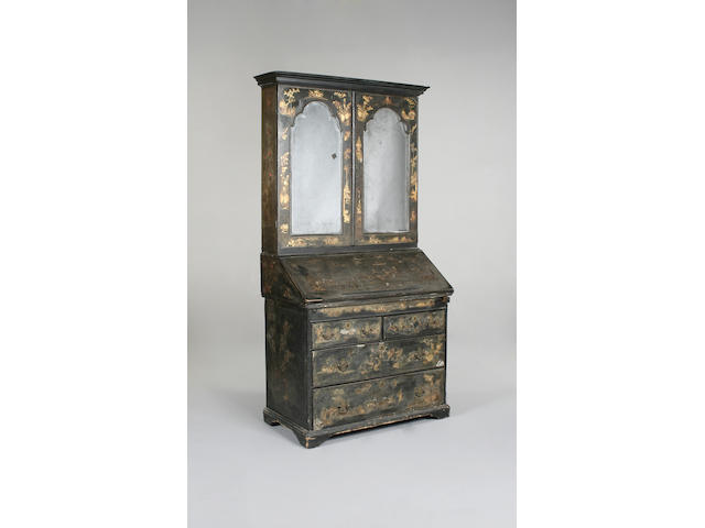 A Queen Anne and later black japanned bureau cabinet