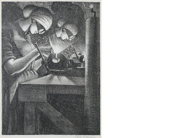 "Christopher Richard Wynne  Nevinson (British, 1889-1946) Acetlyene Welders Lithograph, 1917/18, signed in pencil, from the series ""Building Aircraft"" published in an edition of 200, not all signed; in good condition, 400 x 295mm (15 3/4 x 11 5/8in)(I)"