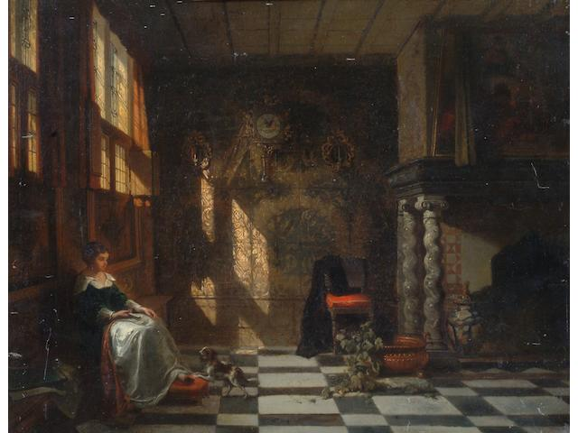 Continental School, mid 19th Century Grand interior with seated lady, with a spaniel at her feet,