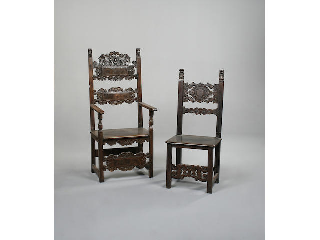 A matched set of ten Italian 16th Century style walnut chairs