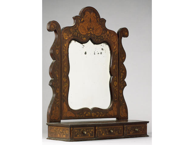 A 19th Century Dutch walnut and floral marquetry dressing mirror,