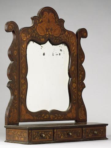 A 19th Century Dutch walnut and floral marquetry dressing mirror,