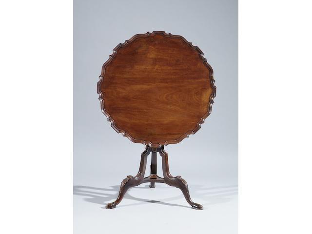 An 18th Century style mahogany pie-crust tilt-top tripod table