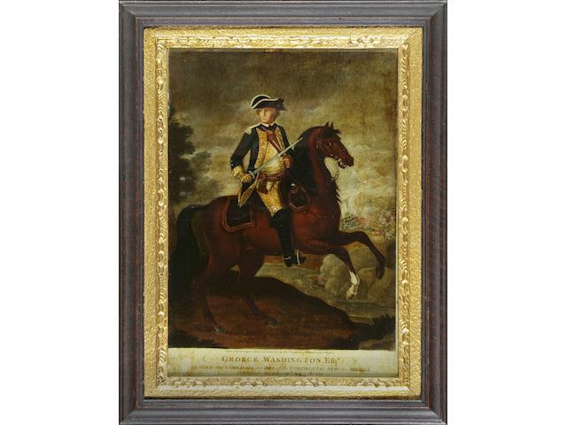A reverse glass print of George Washington